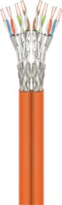 CAT 7A Duplex-Netzwerkkabel, S/FTP (PiMF), Orange
