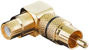 RCA adapter 90°; gold version; black
