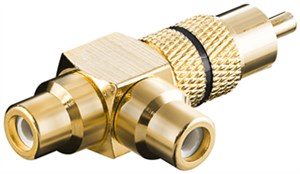 RCA Y adapter; male to 2x female; gold version; black
