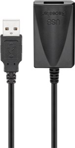 Active USB 2.0 extension cable, black