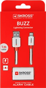 BUZZ Charge'n Sync Alarm Lightning Cable, white