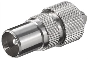 Coaxial plug with screw fixing