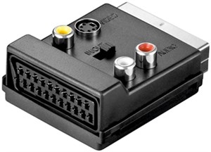 Scart zu Composite Video und S-Video Adapter; IN/OUT; mit Scart Durchleitung