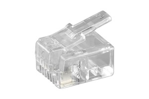 RJ11 modular plug for flatcable; 4 pol.