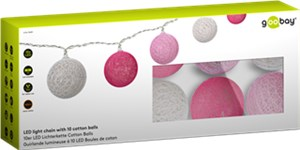 10er LED Lichterkette Cotton Balls, batteriebetrieben