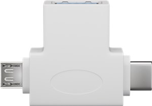 USB-A to USB 2.0 micro-B T-adapter (USB A 2.0), white