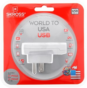 SKROSS P Country Adapter World to USA USB