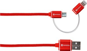 2in1 Charge'n Sync Micro USB & Lightning Connector - Steel Line, rot