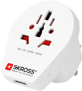 SKROSS P Country Adapter World to UK USB