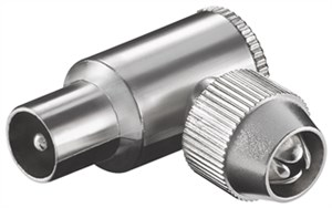 Coax angle plug with screw fixing