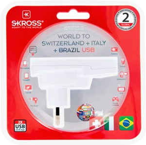 Country Adapter World to Switzerland+Italy+Brasil USB*