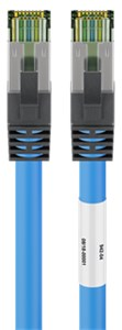 RJ45 (CAT 6A, 500 MHz) Patchkabel mit CAT 8.1 S/FTP Rohkabel, Blau