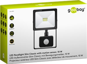 LED floodlight, 10 W, Slim Classic, with motion sensor