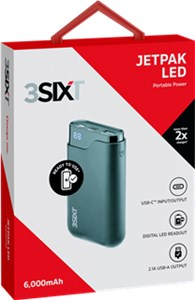 JetPak LED 6.000mAh handy power bank with USB-C ™ and USB-A connector