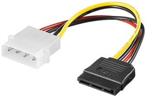 PC power cable/adapter; 5.25 inch male to SATA